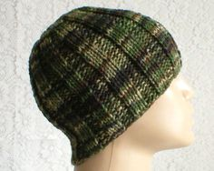 756c28fd059 Camouflage beanie hat green black brown hat toque ribbed beanie hat mens  womens knit hat green black brown beanie hat hiking biker hat