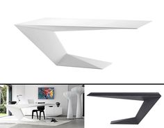 Furtif desk is a striking futuristic piece of furniture designed by awarded French designer Daniel Rode for Roche Bobois. With its beveled lines and futuristic form the Furtif desk exhibits a very bold and captivating design language. The spectator is left speechless before this distinctive and dynamic writing desk. The Furtif desk seems to defy gravity with it spectacular cantilevered design and futuristic prismatic volumes, while its angular shape resembles a stealth fighter aircraft ...