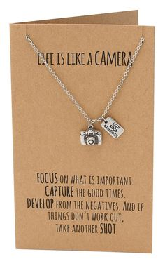 Ida Life is Like a Camera Pendant Necklace, Inspirational Quote on Greeting Card, Vintage Camera Pendant, Graduation Gift, Greeting Card with Jewelry - Quan Jewelry - 2 Habit Vintage, Gifts For Women, Gifts For Her, Presents For Women, Diy Presents, Dslr Photography Tips, Photography Gifts, Birthday Photography, Quotes On Photography