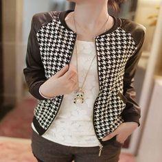 Slim Plaid Checks Leather Jackets | Daisy Dress for Less | Women's Dresses & Accessories