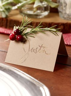 Rosemary Seating Cards: This place card craft is easy to make and adds a lot of festive flair to your table.