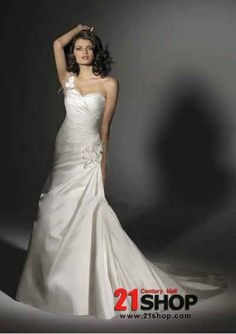 Satin Sweethearte Shoulder with Rouched Bodice and Slim A line in Chapel Train and Lace up Closuer Hot Sell 2011 New Wedding Dress WD33 Shop