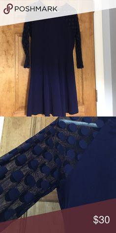 Blue Dress Royal blue with see through mesh-like sleeves. Express Dresses Long Sleeve