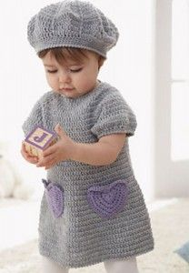 Sweet crochet dress with accent heart pockets and matching beret for ages 6 to 18 months. I guess I should learn to crochet! Little Girl Dress Patterns, Baby Patterns, Knitting Patterns, Crochet Patterns, Pillow Patterns, Crochet Edgings, Shawl Patterns, Crochet Motif, Knitting Ideas