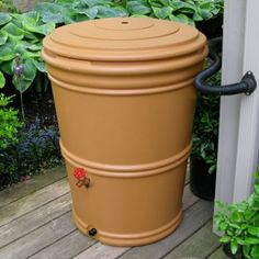 Shop now for this lightweight inexpensive rain barrel, rain barrel kit and locking lid included. Diverts up to 50 gallons of water from your downspout with style! Water Barrel, Granite Colors, Rainwater Harvesting, Water Conservation, Save Water, Go Green, Garden Beds, Garden Spaces, Gardening Tips