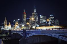 Cityscape long exposure at Night - City of Melbourne at night long exposure over Princes Bridge.