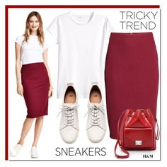 """""""Tricky Trend: Pencil Skirts and Sneakers"""" by rosie305 ❤ liked on Polyvore featuring H&M, Loeffler Randall, TrickyTrend and pencilskirtandsneakers"""