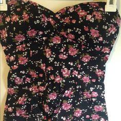 Black Full Tilt tube top with pink flowers Black tube top with pink flowers Full Tilt Tops Camisoles