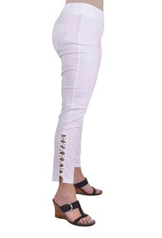 "DANISH - The Mackenzie, Pant, Ankle Pant, Size 2 - 16, Pull-on waist, Slim Fit, Mid Rise - 1"" Below the Navel, Ankle (25"" - 28""), Stretch, Bling, Soft, Medium Weight, Dressy Slack Material, Imported, White, 77% Rayon 19% Nylon 4% Spandex, Bengaline, Machine Wash, Do Not Bleach, Tumble Dry, Iron Low, Spring/Summer"