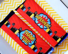 HERO Party - Hero CANDY BAR WRAPPERS - Hero Birthday Party - Comic Book Party