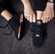 Adidas Women Shoes - #petitsplaisirs #ledeclicanticlope / Babies Adidas ZX Flux cuivre et noir. Via wheretoget.it - We reveal the news in sneakers for spring summer 2017
