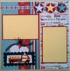 Firefighter 12x12 premade scrapbook layout page by ohioscrapper, $15.00