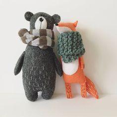 Felt Bear In Knitted Scarf Stuffed Bear Gift for Her Felted Miniature Animals Felt Animals Teddy Bear Toy Woodland Plushie Sewing Stuffed Animals, Stuffed Toys Patterns, Handmade Stuffed Animals, Softies, Plushies, Felt Crafts, Kids Crafts, Felt Fox, Bear Felt