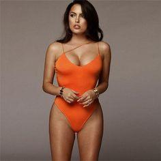 Women's Summer One Piece Swimsuit | Color: Orange | TokiTop Womens Bodysuit, Halter Bodysuit, Green One Piece, Swimwear Model, Swimwear Sale, Orange Swimsuit, Monokini Swimsuits, Bikinis, Bikini