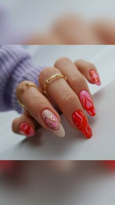 Red Manicure, Glam Nails, Nude Nails, Pink Nails, Coffin Nails, Red And Gold Nails, Rose Gold Nails, Sugar Nails, Red Nail Art