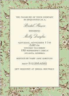 Lovebird Toile Green Bridal Shower Invitation  vintage look