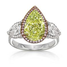 Fancy Intense Yellow Green Diamond Ring by Cora