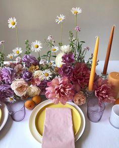 Spring wedding centerpieces in lavender, yellow, and pink Spring Wedding Centerpieces, Wedding Table Centerpieces, Flower Centerpieces, Wedding Decorations, Spring Decorations, Centrepieces, Floral Wedding, Wedding Colors, Wedding Flowers