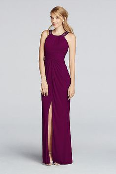 Choose this long mesh halter bridesmaid dress designed with delicately  beaded straps f22a8eb71120