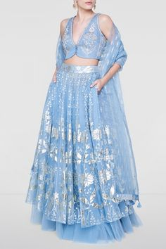 Designer Skirts - Buy Azha Skirt Set for Women Online - Blue - Anita Dongre Source by Lehenga Choli Designs, Saree Blouse Designs, Designer Bridal Lehenga, Bridal Lehenga Choli, Dress Indian Style, Indian Dresses, Indian Wedding Outfits, Indian Outfits, Mehendi Outfits