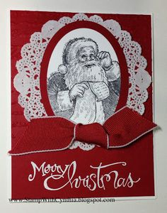 handmade Christmas card featuring Santa's List stamp ... red and white ... like how Santa is closely cropped in an oval ... doily, knotted ribbon & white heat embossed sentiment ... Stampin' Up!