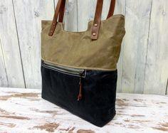 Tote Shopper Tasche gewachste Baumwolle Canvas von pukiq auf DaWanda.com