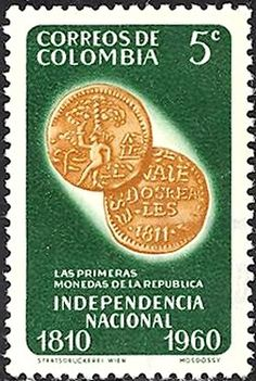 Bélyeg: First coins of Republic (Kolumbia) (150 years of independence) Mi:CO 931,Sn:CO 719,Yt:CO 582