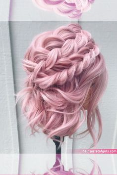 You guys were literally obsessed with this one! Here is another angle! Braided Hairstyles, Cool Hairstyles, Hairstyle Ideas, Cool Hair Designs, Pastel Pink Hair, Peinados Pin Up, Gorgeous Hair, Beautiful, Aesthetic Hair