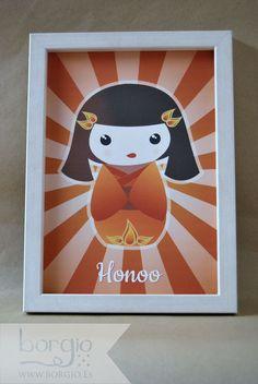 """Honoo, de la colección """"Elemental Kokeshi"""" Disponible en: http://www.borgio.es/laminas-infantiles/"""