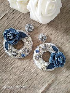 Denim Earrings, Round Earrings, Beaded Earrings, Etsy Earrings, Zipper Flowers, Denim Flowers, Fabric Flowers, Zipper Crafts, Denim Crafts