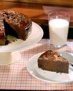 Easy Chocolate Cake Recipe. If the sides aren't perfectly glazed, press in chocolate shavings for an easy cover-up.