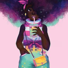 Black Girl and Bubble Tea by GDBee shared by Duaghter_Confused. Black Love Art, Black Girl Art, My Black Is Beautiful, Art Girl, Black Girl Magic, African American Art, African Art, Black Girl Cartoon, Natural Hair Art