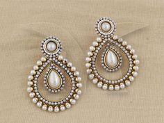 Indian PakistaniEthnic Gold Platd Pearl Moti White Jhumki Bali Tops Drop Earring