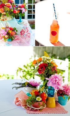 pretty flowers for an orange and blue wedding