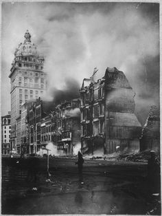 The ruins and smoke after the San Francisco Earthquake of May 1906.