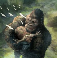 Kong carrying the skurr buffalo Cool Monsters, Horror Monsters, King Kong Vs Godzilla, Godzilla Franchise, Aliens, Giant Monster Movies, Historia Natural, Skull Island, Fantasy Dragon
