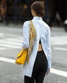 Fringe, Sara Battaglio bag, Acne shirt / Garance Doré