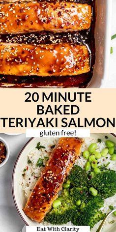 Baked Teriyaki Salmon, Baked Salmon Recipes, Fish Recipes, Dairy Free Salmon Recipes, Drink Recipes, Gluten Free Recipes For Dinner, Healthy Dinner Recipes, Cooking Recipes, Gluten Free Dinners Easy