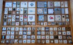 libélulas lilas y botones azules: cajón de imprenta.20