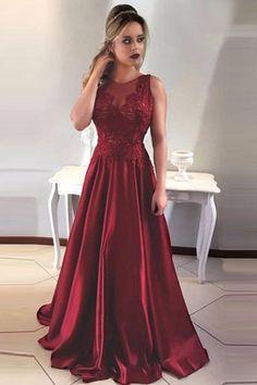 Formal Open Back Burgundy Long A-line Satin Lace Beauty Prom Dresses Z0564