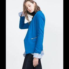 ZARA ZIPPER STATEMENT BLAZER Blue Zara Jackets & Coats