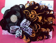 Halloween Orange and Black Feather Rhinestone by BetterLetterLI, $17.00