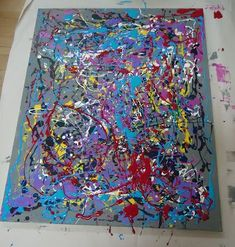The children have been engaged in the creation of a group art project inspired by Jackson Pollock. To introduce this artist, I showed the c. Collaborative Art Projects For Kids, Group Art Projects, Preschool Art Projects, Classroom Art Projects, Art Activities, Class Projects, Welding Projects, Kids Crafts, Art Auction Projects
