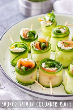 salmon cucumber rolls are refreshing appetizer bites, perfect for any occ. Smoked salmon cucumber rolls are refreshing appetizer bites, perfect for any occ. Smoked salmon cucumber rolls are refreshing appetizer bites, perfect for any occ. Cucumber Rolls, Cucumber Bites, Seafood Appetizers, Appetizer Recipes, Canapes Recipes, Cucumber Appetizers, Seafood Recipes, One Bite Appetizers, Best Appetizers
