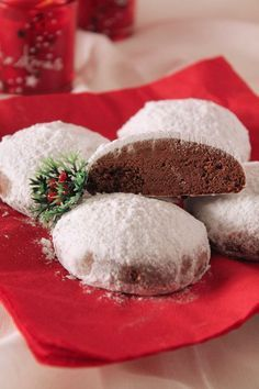 Chocolate Snowball Cookies From: The One With All The Taste, please visit Greek Sweets, Greek Desserts, Small Desserts, Ice Cream Desserts, Holiday Desserts, Holiday Baking, Xmas Food, Christmas Sweets, Christmas Cooking