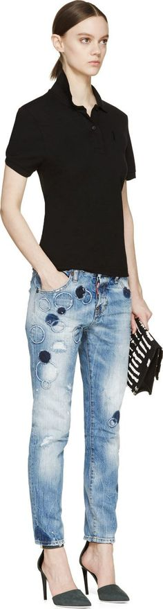Blue Circle Patch Cool Girl Jeans / Parches azules circulares, jeans mujer