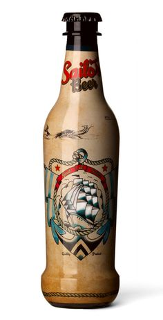 Good Ol´ Sailor Beer bottle design inspired by ye good ole days of stormy seas and tattooed sailors.