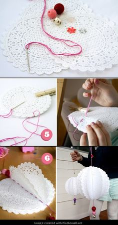 Ornaments, made from paper doilies. Maybe something to do with crochet doilies? Diy And Crafts, Crafts For Kids, Arts And Crafts, Paper Crafts, Holiday Crafts, Christmas Crafts, Christmas Ornaments, Winter Christmas, Doilies Crafts