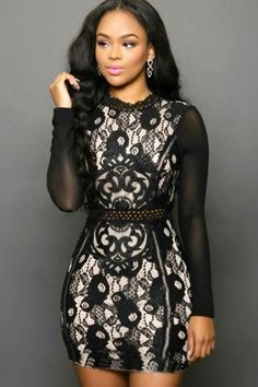 Black Mesh Long Sleeve Bodycon Mini Dress