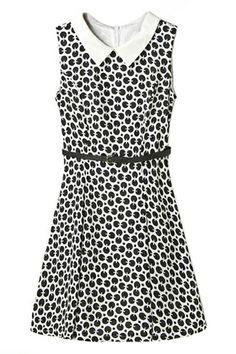 ROMWE | ROMWE Dual-tone Polka Dots Print Belted Dress, The Latest Street Fashion